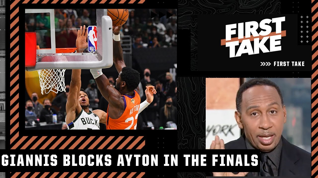 Stephen A. reacts to Giannis' block on Deandre Ayton's alley-oop in the Finals | First Take