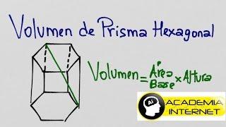 Volumen de un prisma hexagonal conociendo su altura y diagonal mayor