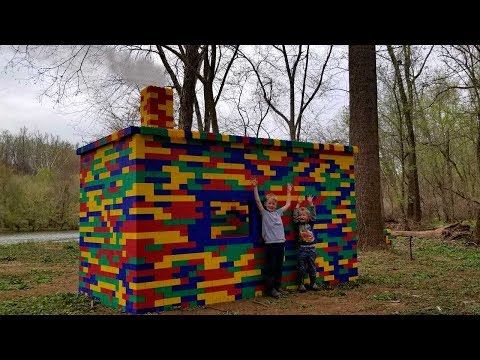 Lego Fishing Cabin - Building & Camping In Lego Fort- Survival Shelter Challenge