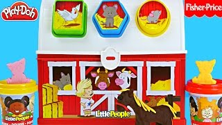 Dough Farm Animal Case Play Doh Learning Colors and Shapes with Little People Toys