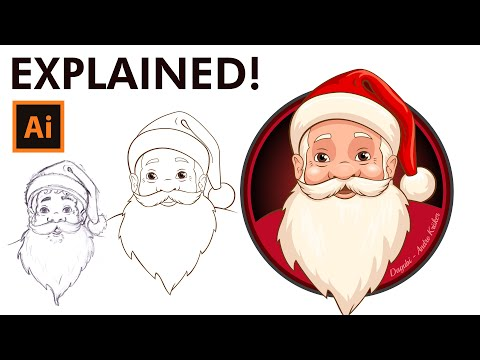Learn To Draw And Coloring A Santa Claus - Adobe Illustrator Drawing And Inking Tutorial