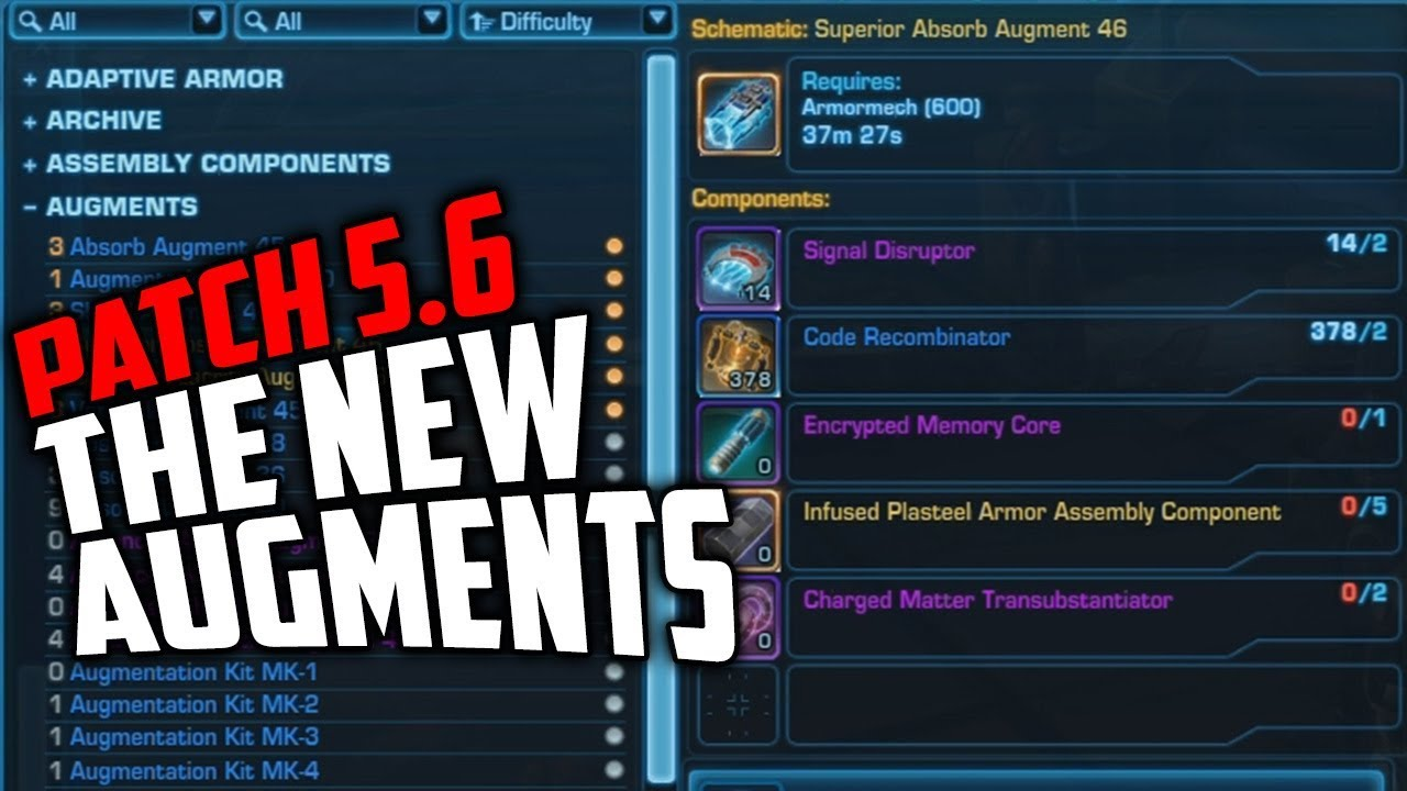 SWTOR Patch 5.6 New Augments Available for Crafting on wii schematics, star trek schematics, star wars schematics, ps3 schematics,