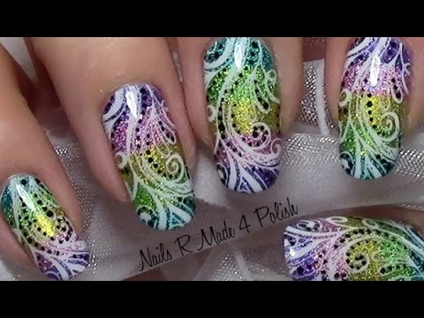 bunte streifen n gel mit stamping p nktchen colorful nail art design youtube. Black Bedroom Furniture Sets. Home Design Ideas