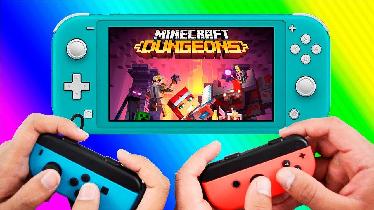 Minecraft Dungeons Joycons Local Coop Gameplay Nintendo Switch Lite
