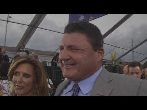 LSU coach Ed Orgeron speaks on the 2019 NFL draft red carpet