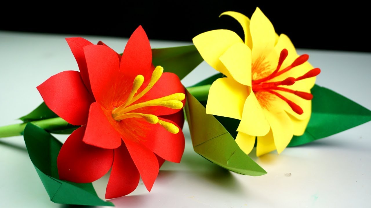 How To Make Paper Stick Flower Making Paper Flowers Step By Step Handmade Craft