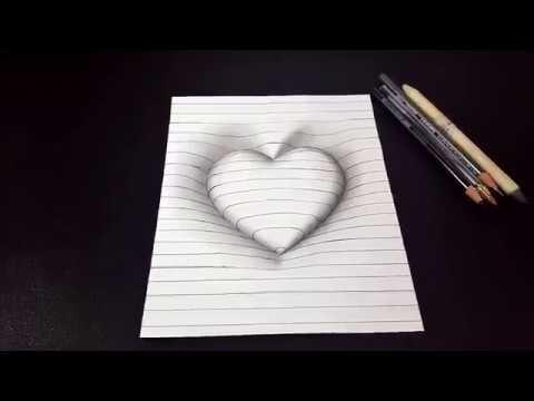رسم سهل كيفية رسم قلب ثلاثى الابعاد مع خطوط 3d خدعة الفن Youtube