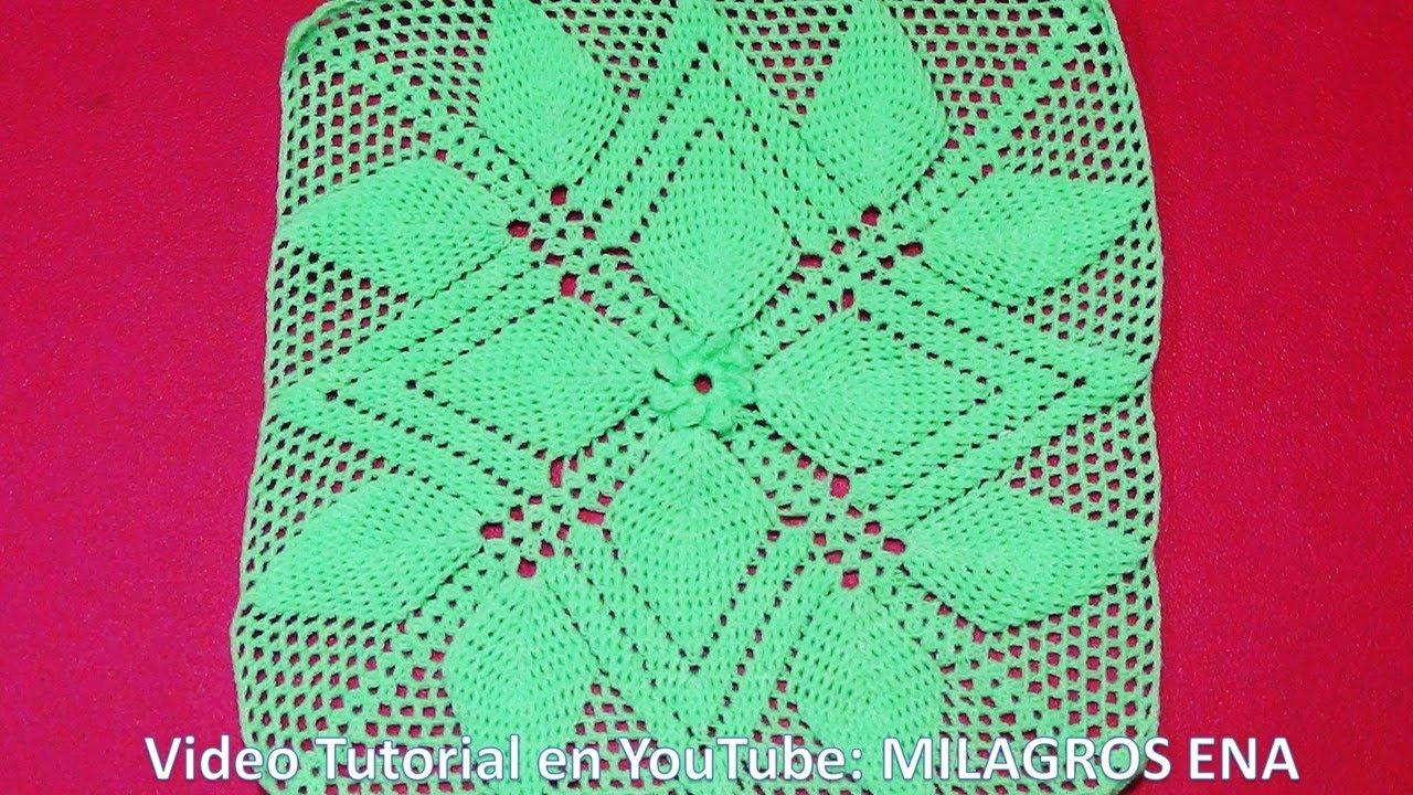 Parte 2 cuadrado a crochet hojas en relieves para colchas - Colchas de crochet paso a paso ...
