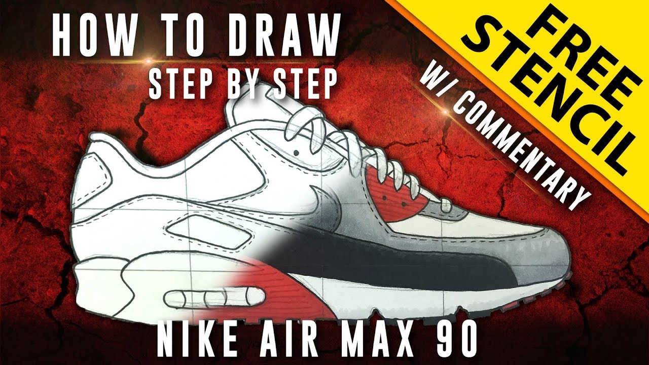How To Draw Step by Step: Nike Air Max 90 w Downloadable Stencil