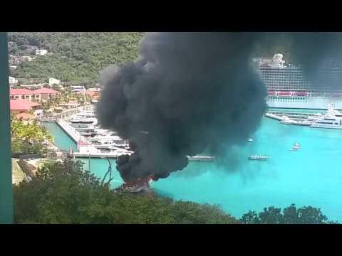"""Burning yacht """"Positive Energy"""" St Thomas USVI"""