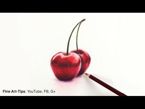 Drawing fruits:How to Draw Cherries With Color Pencils- Fine Art-Tips