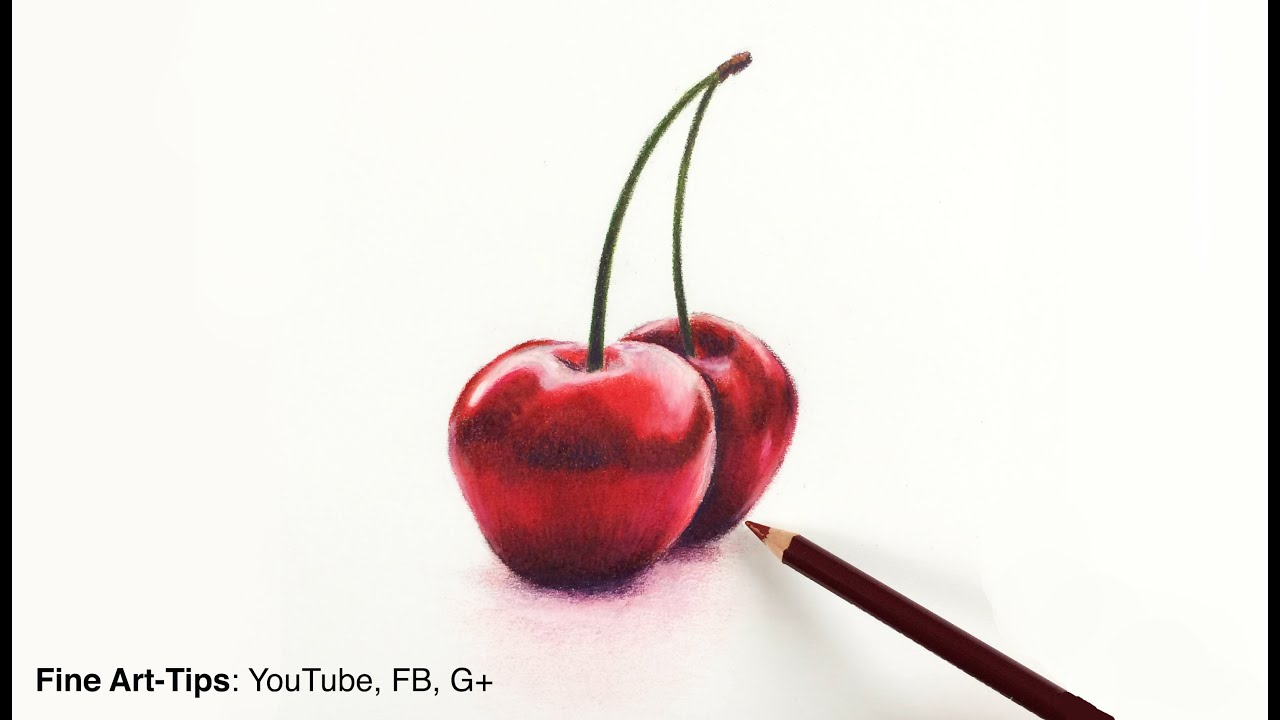 drawing fruits how to draw cherries with color pencils fine art