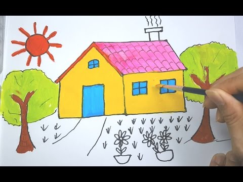 Learning How To Draw House And Draw Smile Shapes Coloring For Kids