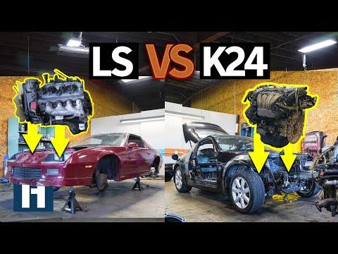 Build & Battle 3: Honda K24 vs Chevy LS V8 Engine Build-off for Gymkhana GRID EP.3