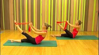 Pilates stretching with bands