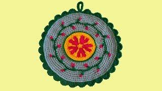 Вязание прихватки. Прихватка крючком. Подставка крючком. Ч. 2 (Crochet potholes. P. 2)