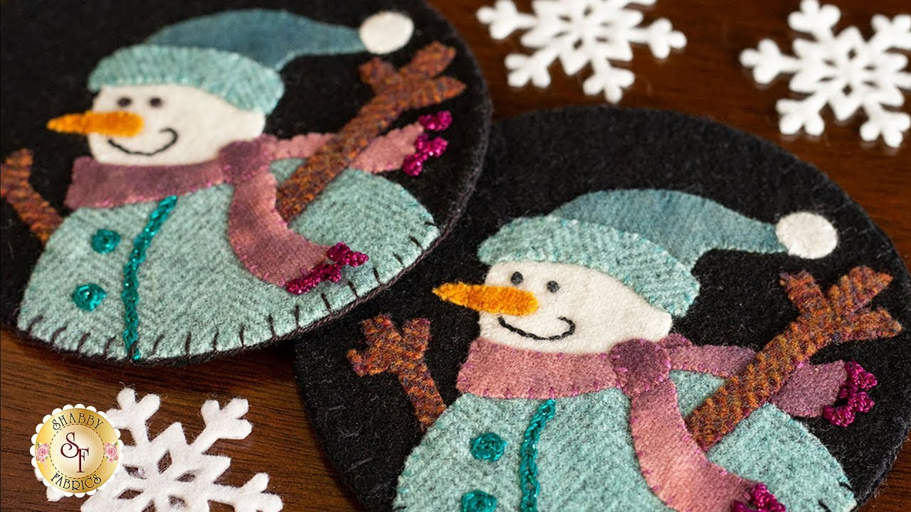 How to Make Snowman Wooly Mug Rugs | A