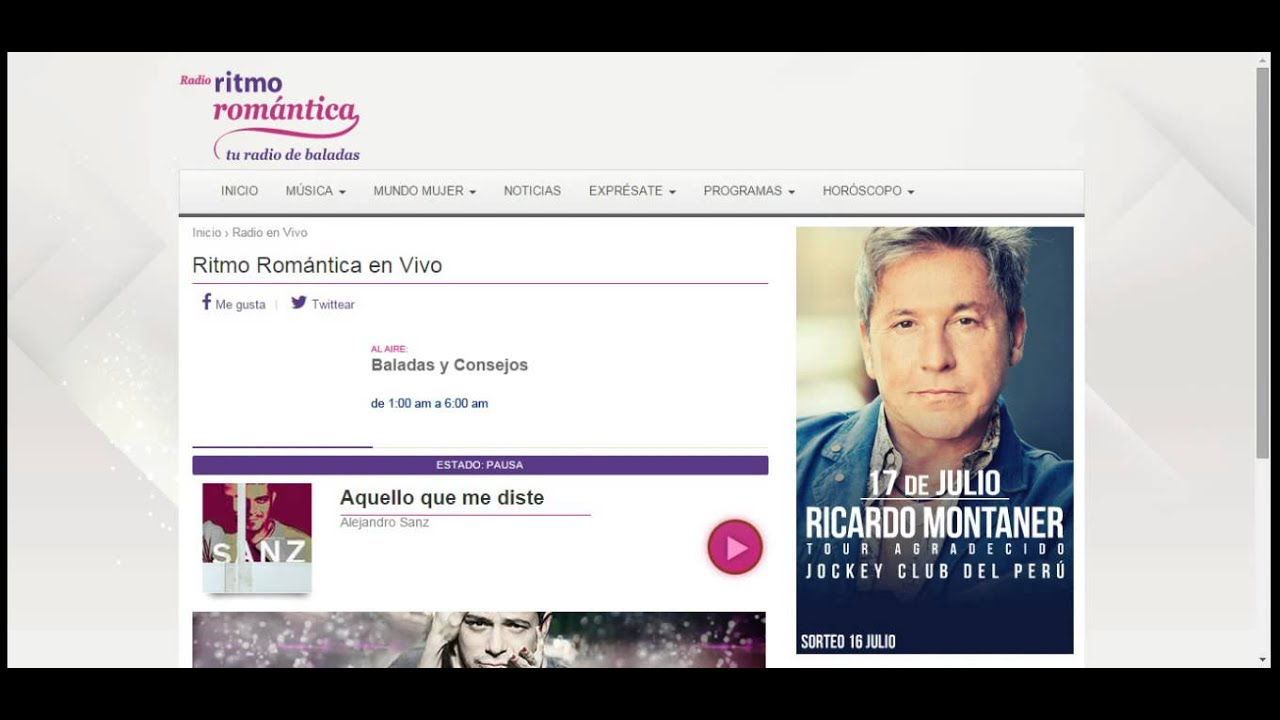 radio ritmo romantica en vivo por internet gratis