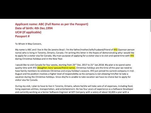 Cover Letter For Canada Visa-Explanation letter to CIC sample Visitor Visa