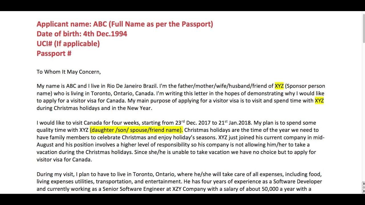 Covering Letter For Visa