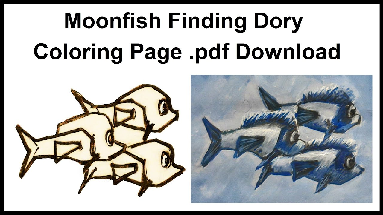 moonfish finding dory coloring page pdf download youtube