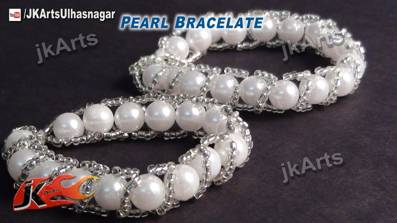 Diy pearl bracelet how to make jewelry making jk for Pearl arts and crafts closing