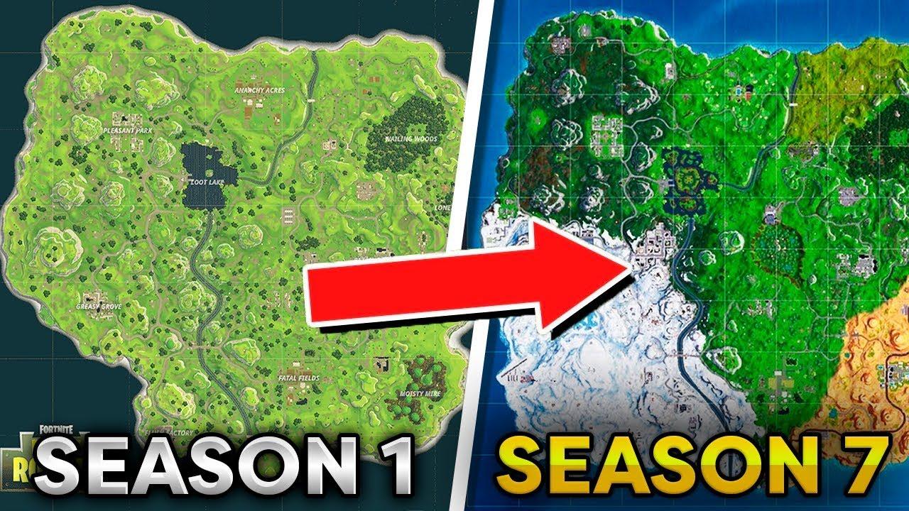 Fortnite Map Evolution Season 1 To Season 7 Youtube