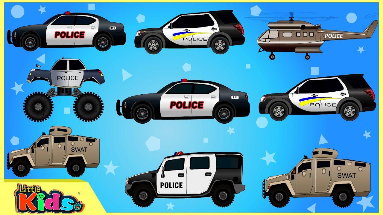 police car police vehicles cars trucks videos for children little kids tv youtube