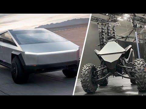 Пикап Tesla Cybertruck + краткий обзор Cyberquad ATV для дополнения футуристичности