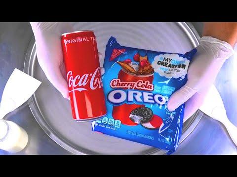 Ice Cream Rolls | Coca-Cola & Cherry Cola OREO Chocolate Sandwich Cookies rolled Ice Cream | ASMR