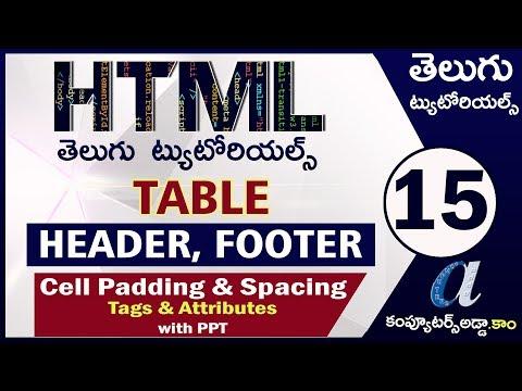 HTML Telugu Tutorials Part-15    TABLE Header & Footer    Cell Padding & Cell Spacing Attributes