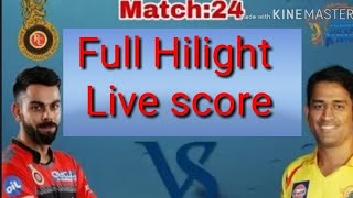 IPL 2018 # 24 match full hilight live || royales chlangers bangluru vs chennai super kings live new