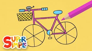 Draw And Color A Cute Bicycle   + More Drawing For Kids   Watch & Learn
