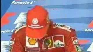 Schumacher cries after equals Ayrton Senna's number of victories.