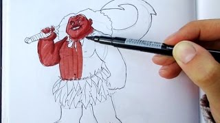 HOW TO DRAW Maui 2 - Entire body in REALTIME