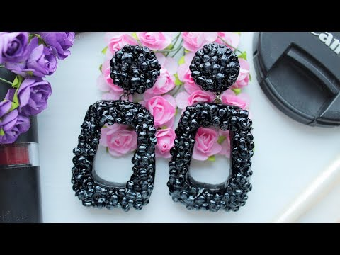 Fashion Black Earrings with Epoxy Resin and Beads ❤️ EASY DIY