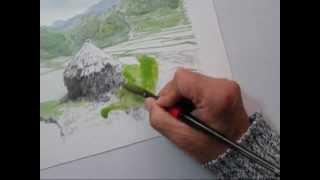 トレース水彩画実践編④ 棚田を描く