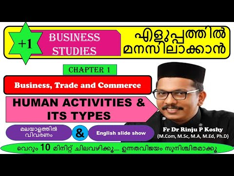 PLUS ONE BUSINESS STUDIES/ HUMAN ACTIVITY AND ITS TYPES/ FR DR RINJU P KOSHY/ MALAYALAM