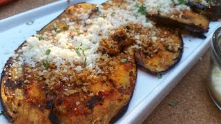 Doug Cooking - Grilled Eggplant, Parm Style