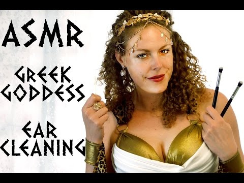 ASMR Ear Cleaning & Exam Greek Goddess Role Play Binaural Ear to Ear, Blowing, Cupping, Whisper
