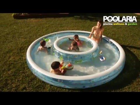 Piscina hinchable intex 2 en 1 con chorros de agua youtube for Chorros para piscinas