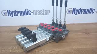 Hydraulic valve 4 sections HM line 90 l/min  24 gpm 12V double acting for cylinder spool video