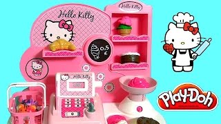 Hello Kitty Bakery Shop Play Doh - Pastelería Pasticceria Pâtisserie Panadería Bäckerei булочная(Disney Collector presents Hello Kitty Bakery Shop with cash register toy. Compact to take it anywhere comes with currency coins, pastries, credit card, cupcakes, ..., 2015-10-16T12:58:25.000Z)