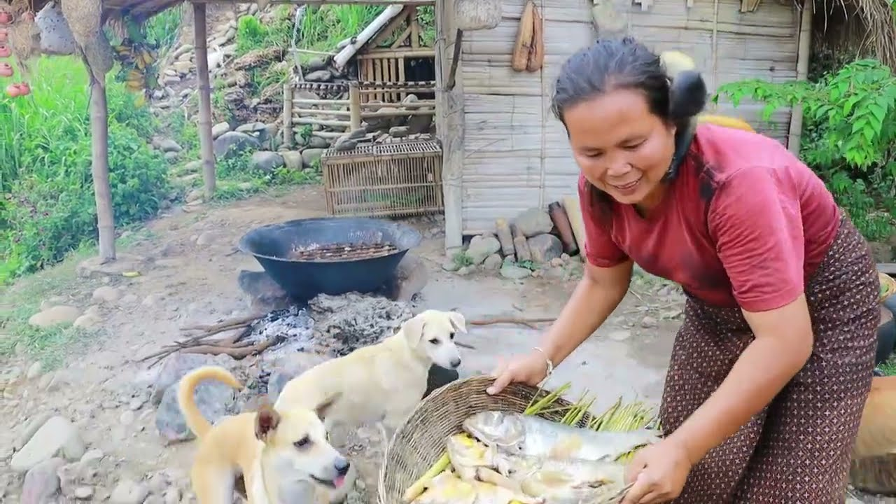 survival in the rainforest-women cook fishs with luffa gourds -Eating delicious HD