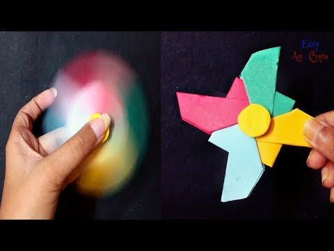 Fidget Spinner Craft -  How To Make A Paper Fidget Spinner Without Bearing - DIY Spinner with paper