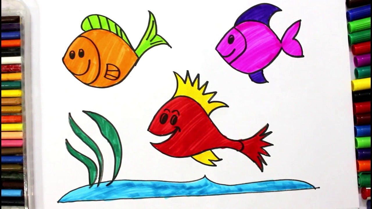 Drawing for Kids | How to Draw Fish & Painting | Learning Colors for ...