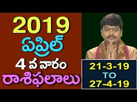 ఏప్రిల్ 4వ వారం వారఫలాలు 2019    Fourth Week of April Varaphalalu 2019 by Tejaswisarma