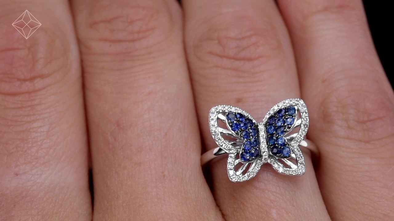Stellato Collection Sapphire and Diamond Butterfly Ring 9k White ...