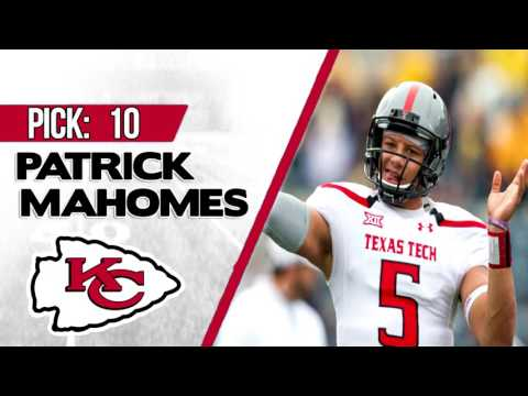 KANSAS CITY CHIEFS SELECT PATRICK MAHOMES 10TH OVERALL   2017 NFL DRAFT
