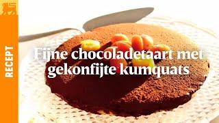 Fijne chocoladetaart met gekonfijte kumquats